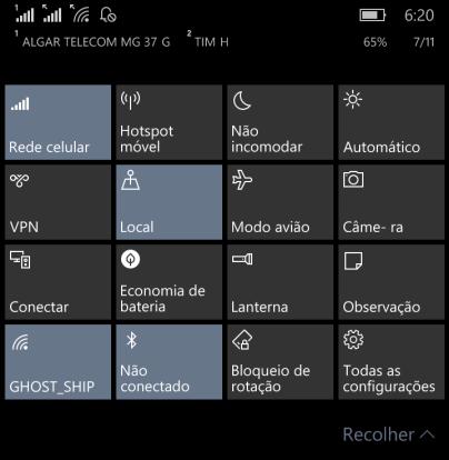 Painel de Configurações Rápidas - Windows 10 Mobile