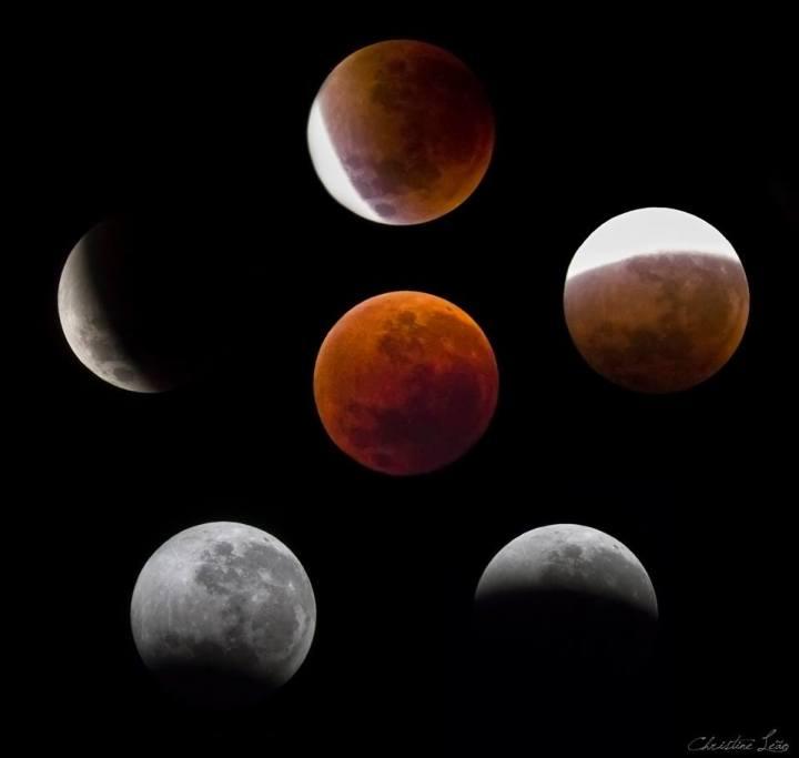 As fases do eclipse (Facebook/Imagem: Christine Leão)