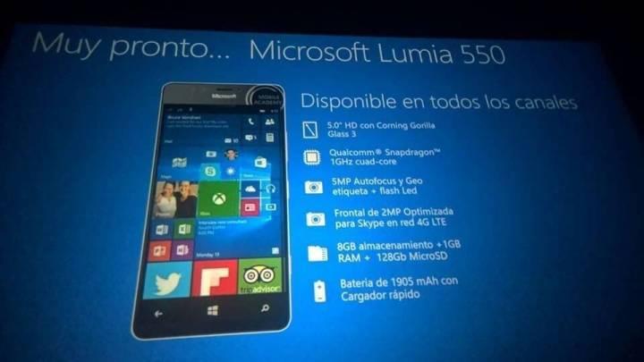 Especificações do Lumia 550