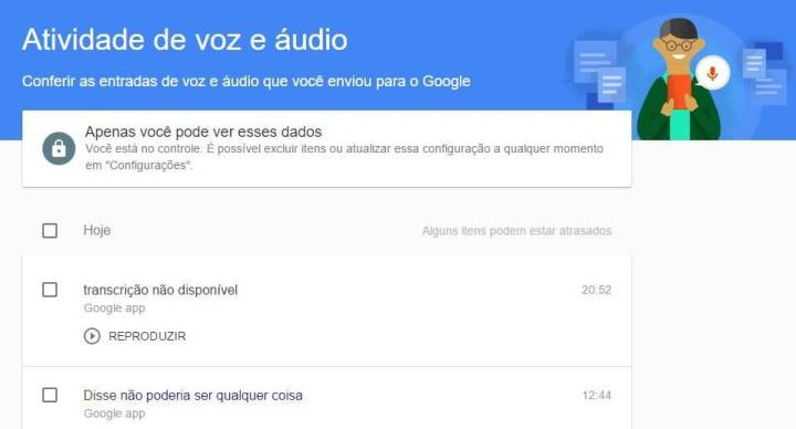 google audio voz gravacao registro
