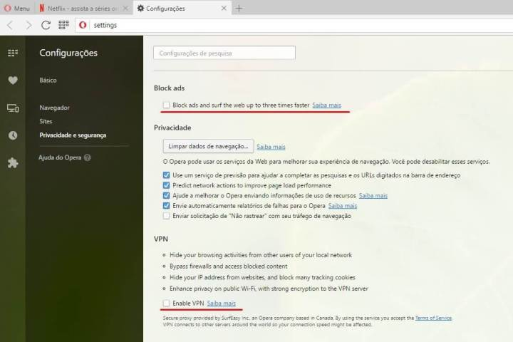 Configurando a VPN no Opera