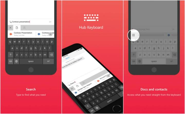 hub keyboard 720x445 - Microsoft lança teclado virtual Hub Keyboard para iOS