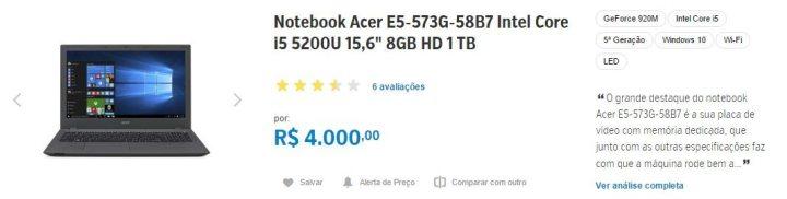 Notebook Acer E5-573G-58B7 zoom