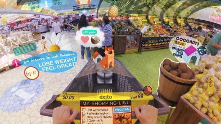 Um passeio pelo supermercado local transforma-se com a realidade aumentada