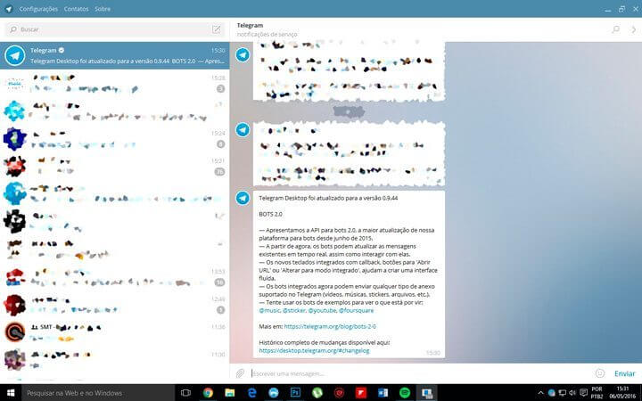 Tutorial Telegram - Essa é a interface do Telegram Desktop com uma 'leve' borrada nos contatos e conversas