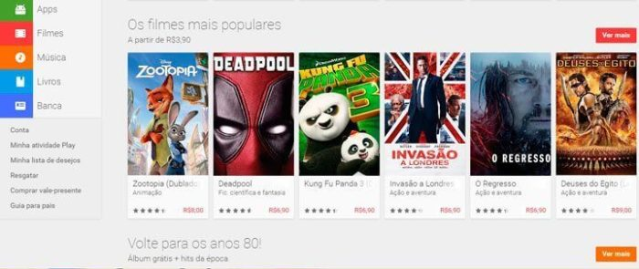 Filmes na Play Store