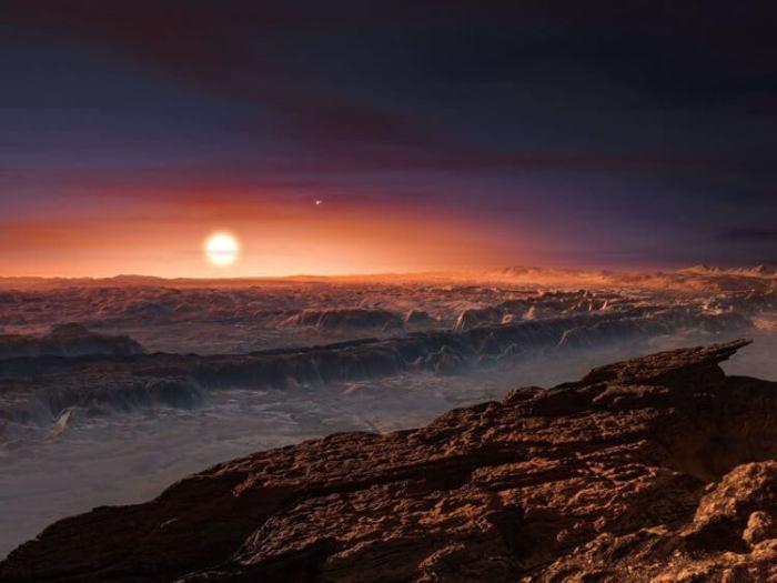 Superfície do planeta Proxima B, em uma concepção artística