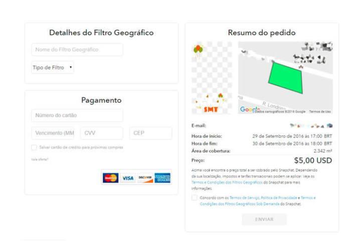 filtro geográfico sob demanda no Snapchat - pagamento