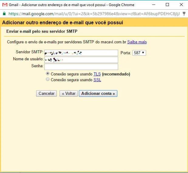 passo 5 - Tutorial: como configurar seu e-mail no Gmail