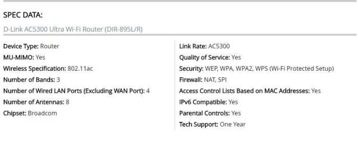 """AC 5300 DIR 895L Specs 720x299 - Roteador DIR-895L da D-Link é a """"Escolha do Editor"""" da PC Mag"""