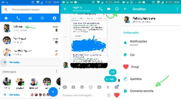 Enviar mensagens secretas no Messenger