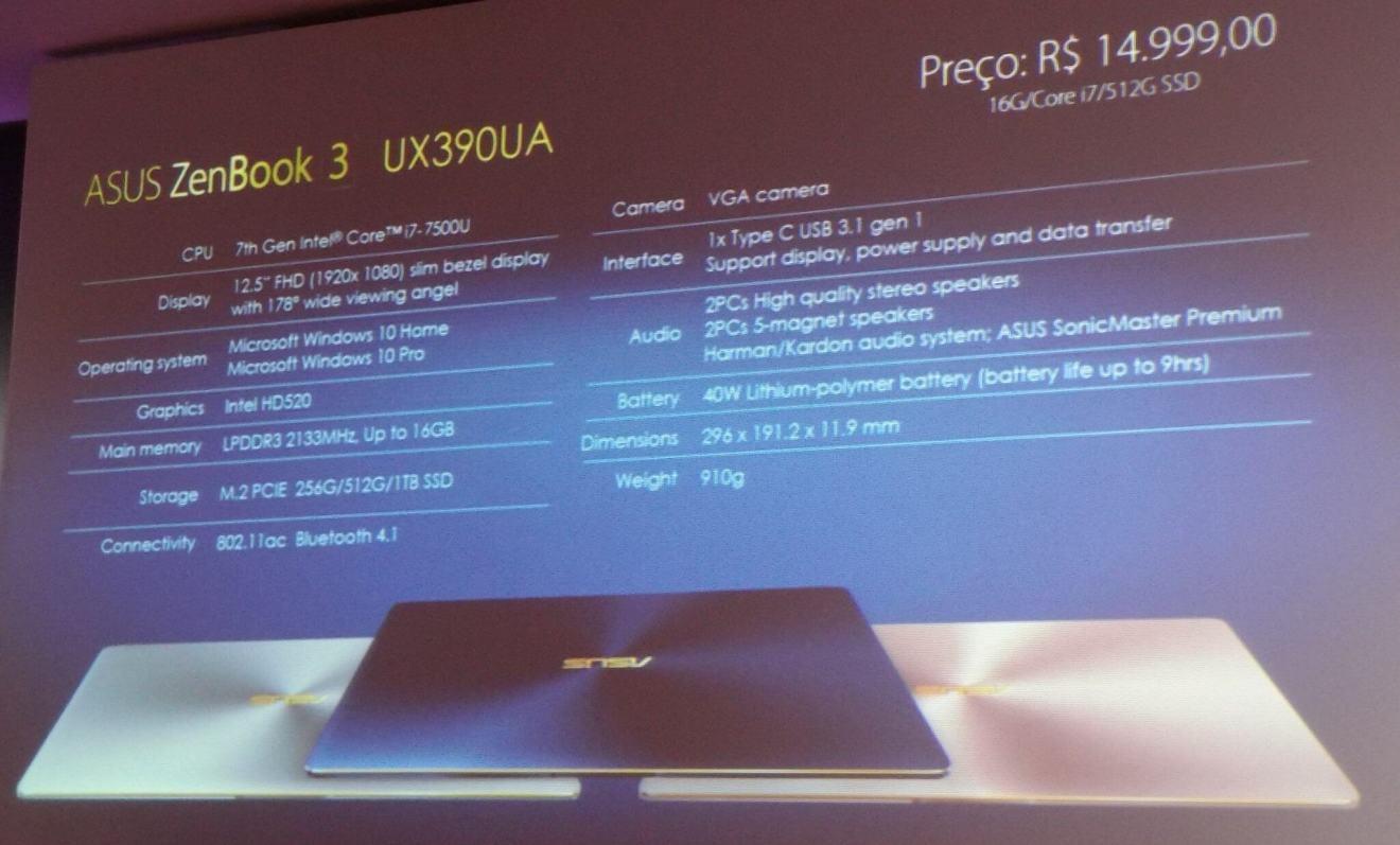 especificações Asus Zenbook 3 - ASUS anuncia família Zenfone 3, Zenbook 3 e dois modelos do Zenwatch no Brasil (atualizado)