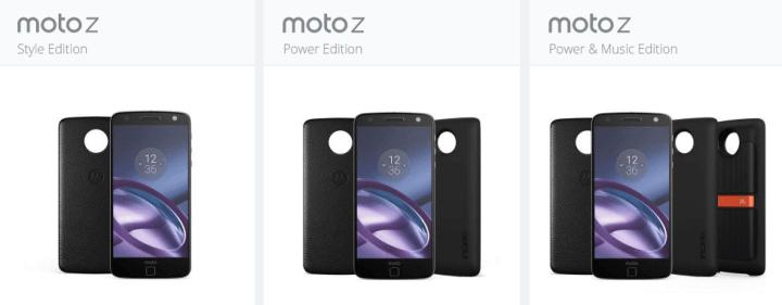 combos personalizados do Moto Z
