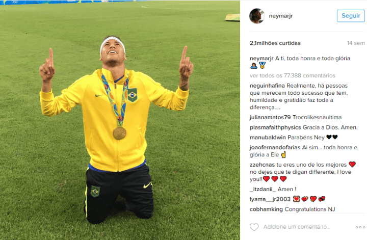 Post mais curtido de Neymar Jr. no Instagram em 2016