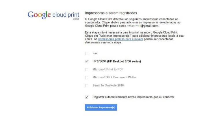 Google Cloud Print dispositivos