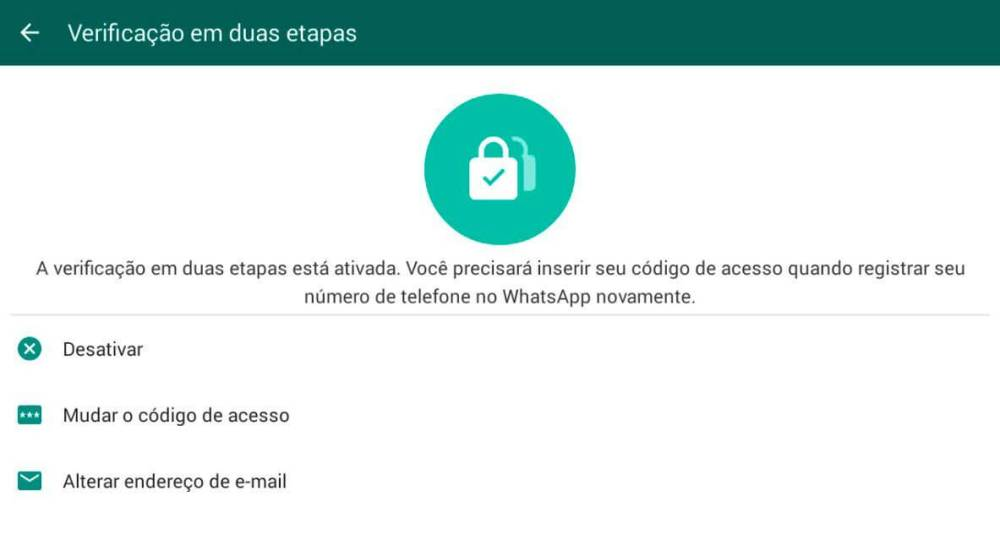 verificação em duas etapas do WhatsApp ativada