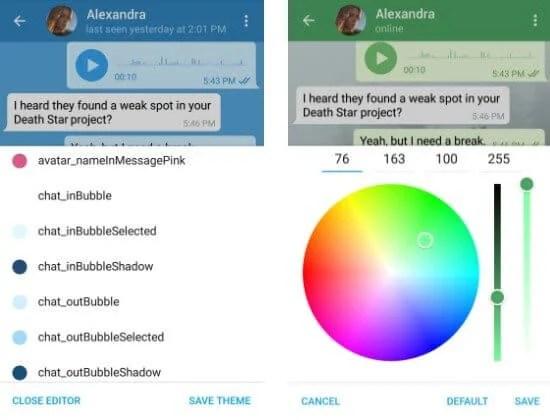 editor de temas - Telegram para Android ganha editor de temas