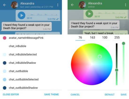 Editor de temas no Telegram para Android