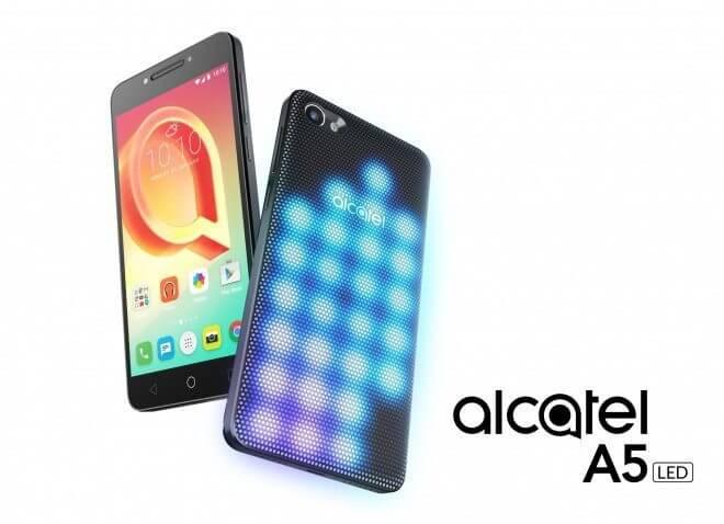 """id227558 - MWC 2017: Alcatel A5 LED é anunciado com traseira """"modular"""" e repleta de luzes"""