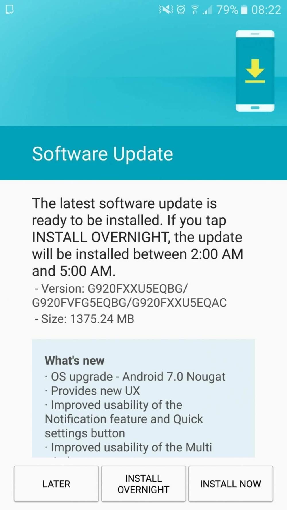 Android Nougat para Galaxy S6