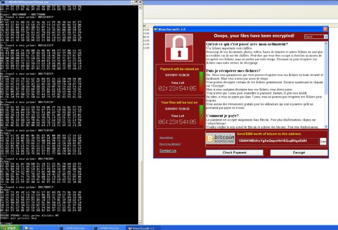 WanaKey em ação contra o WannaCry no Windows XP