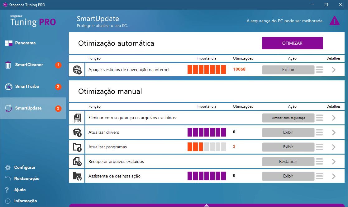 smartupdate - Análise: Steganos Tuning PRO é bom para a limpeza do PC?