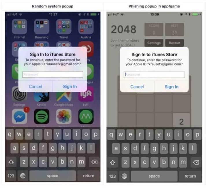 Comparação entre popup iOS e versão potenciamente maliciosa
