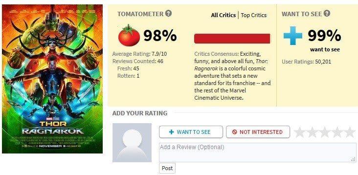 rotten tomatoes thor ragnarok - Críticas iniciais de Thor: Ragnarok são extremamente positivas