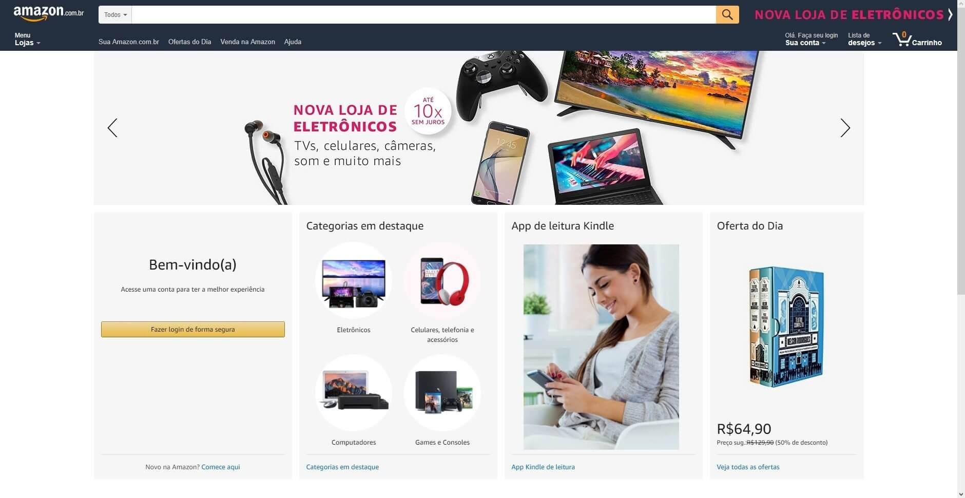 Amazon inicia vendas de eletrônicos no Brasil