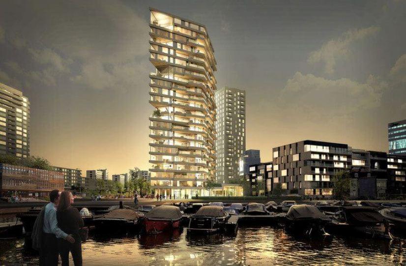 01 HAUT amstelkwartier jachthaven Team V Architectuur - Arranha-céus de madeira podem ser o futuro de nossas cidades