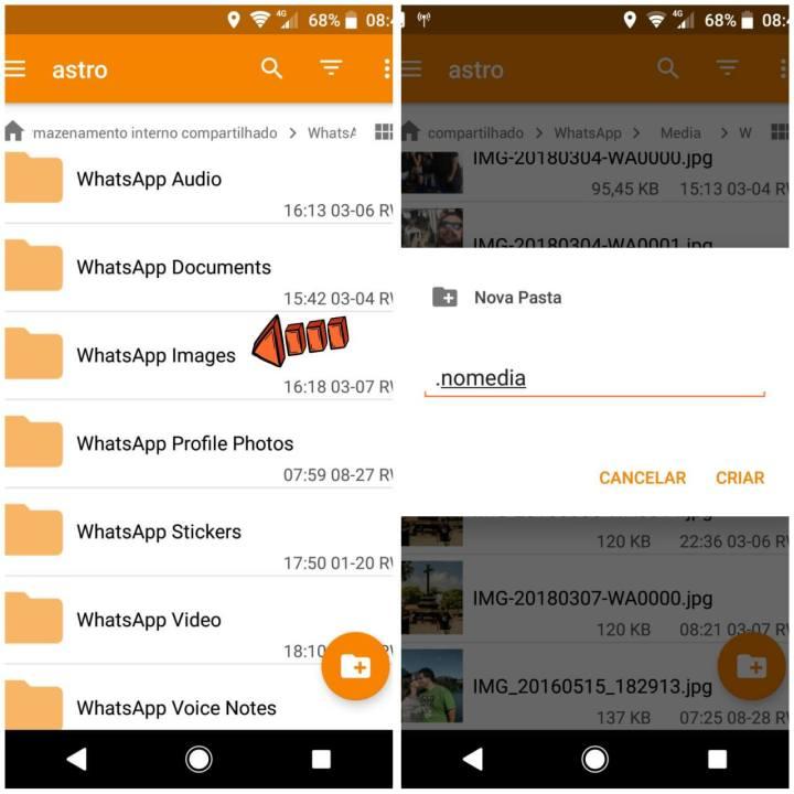 Como esconder as fotos do WhatsApp da galeria do Android 8