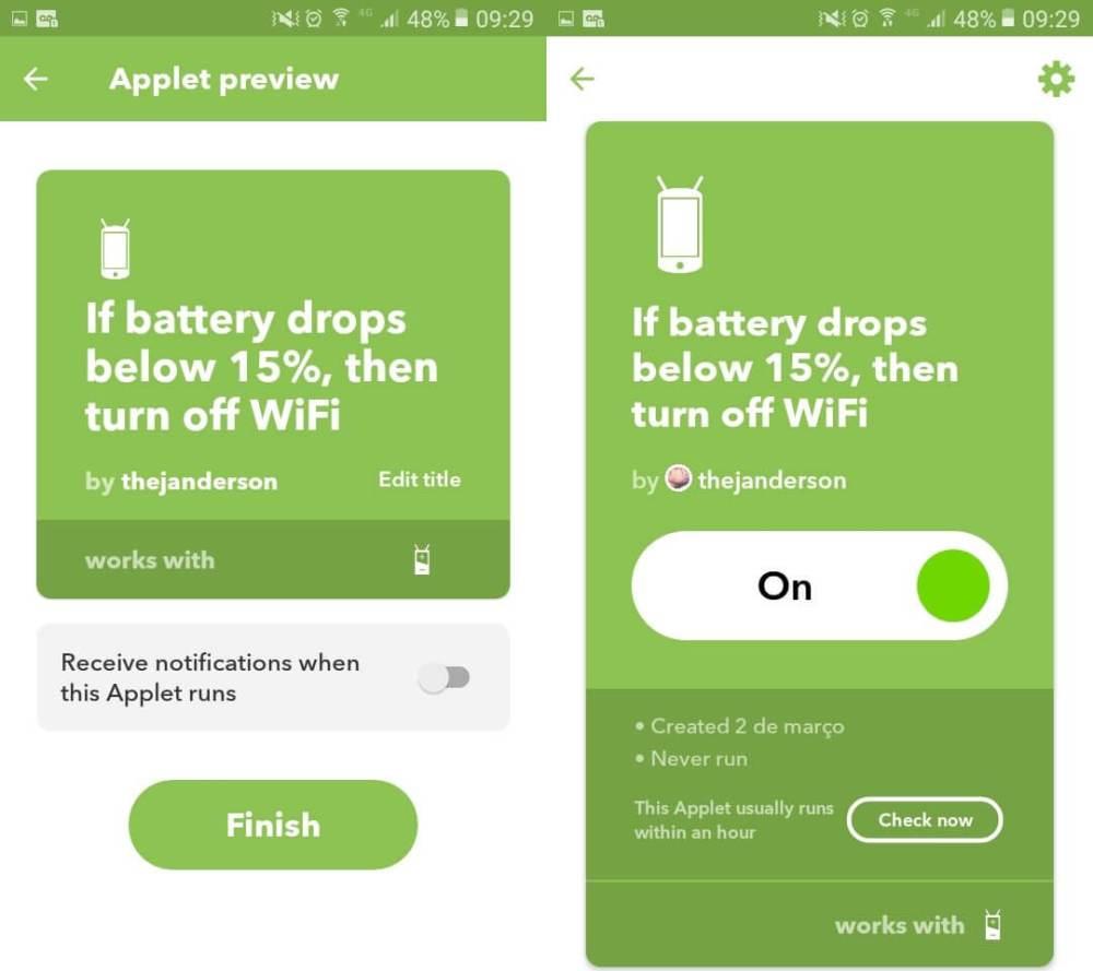 iftt05 - IFTTT: Como desligar o Wi-Fi do Android automaticamente quando a bateria estiver fraca