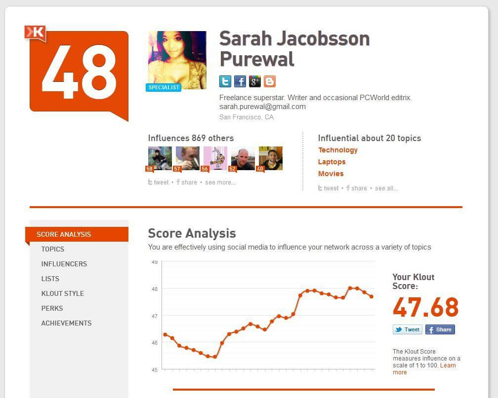 klout sarah 11353926 - Confira algumas ferramentas grátis para monitorar suas redes sociais