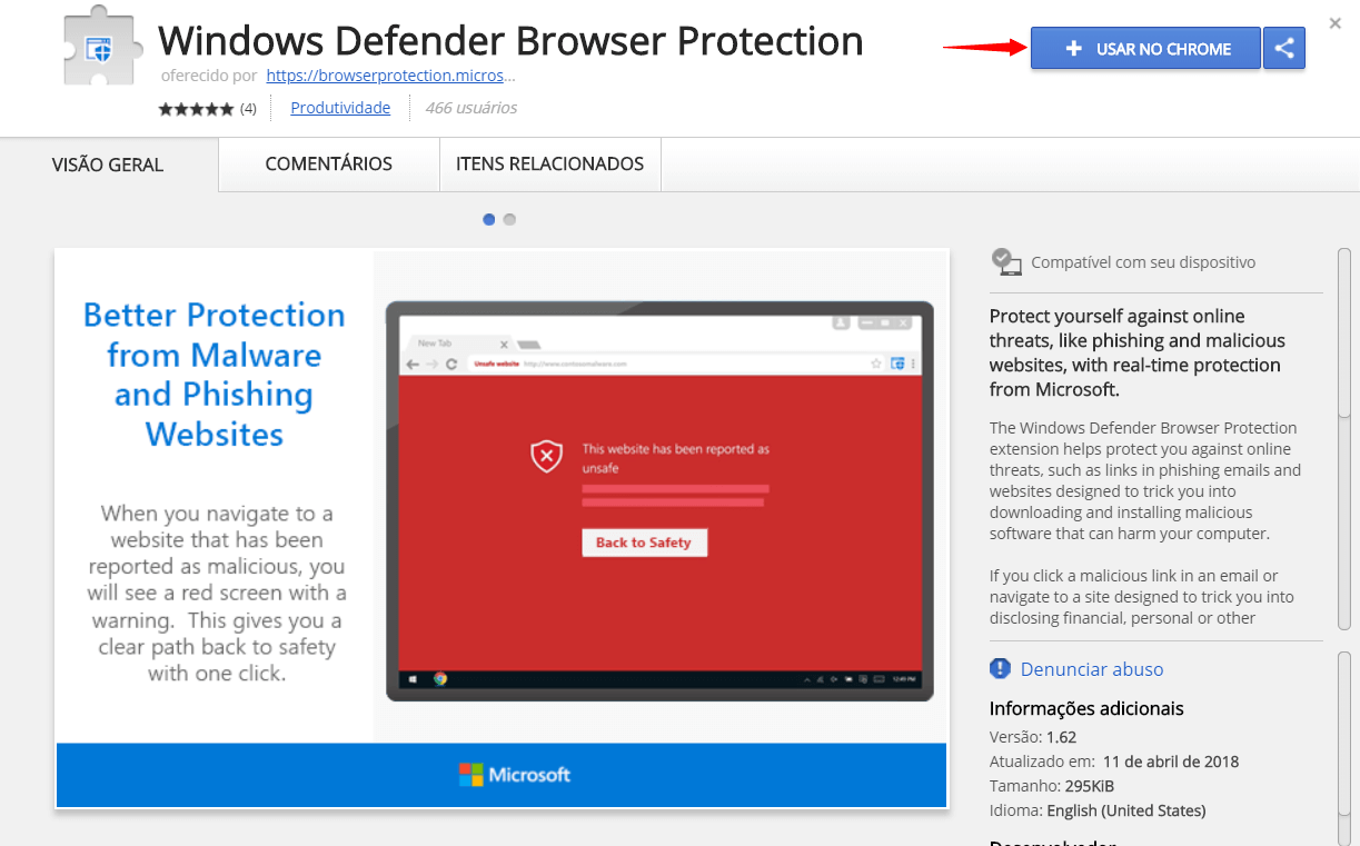 Tutorial: proteja-se de malwares com a extensão do Windows Defender para Google Chrome 8