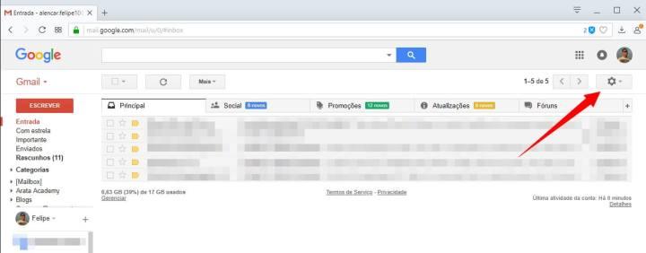 1 3 720x282 - Tutorial: Como ativar o novo design do Gmail