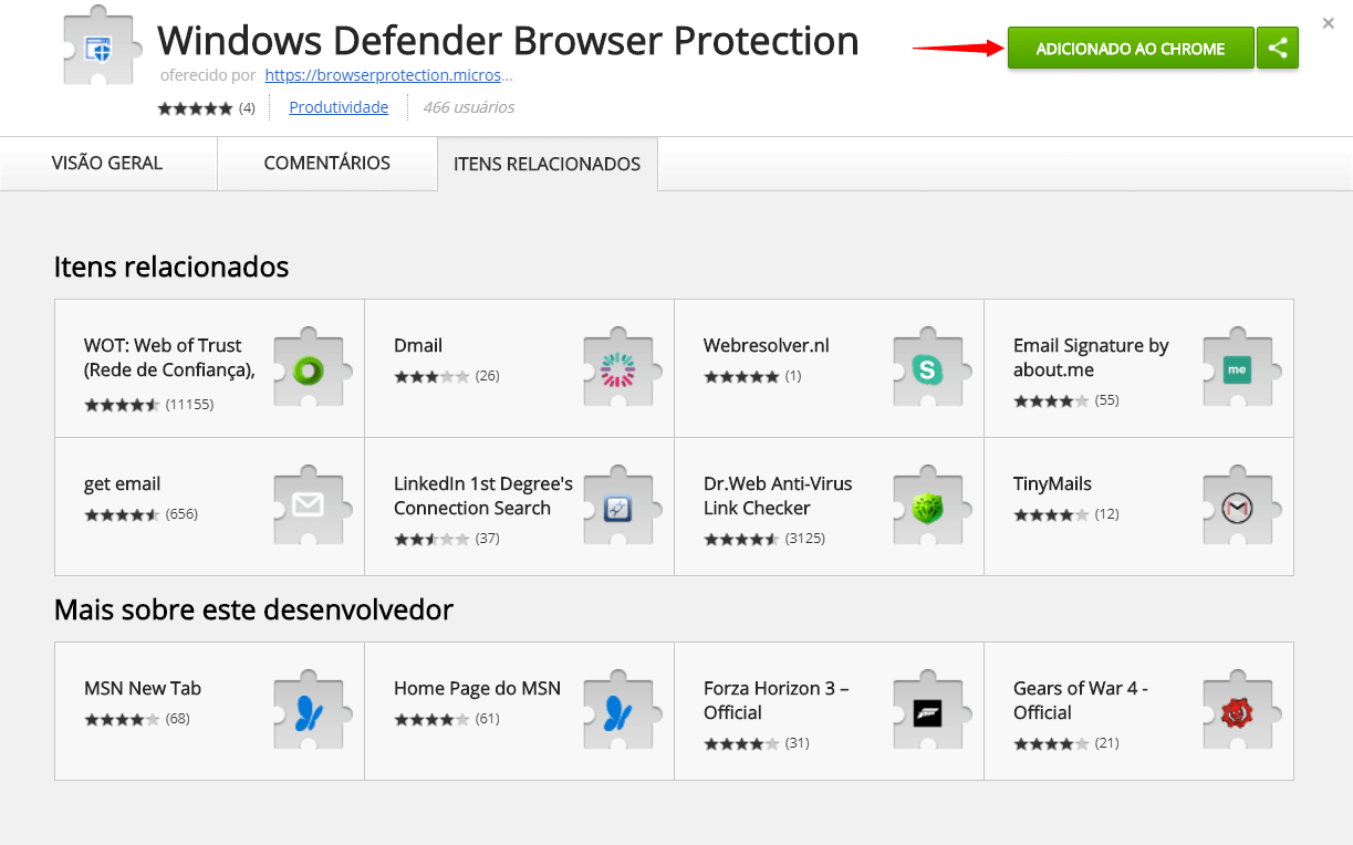 Tutorial: proteja-se de malwares com a extensão do Windows Defender para Google Chrome 10