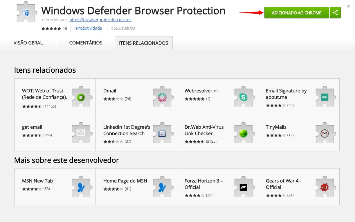 Tutorial: proteja-se de malwares com a extensão do Windows Defender para Google Chrome 8
