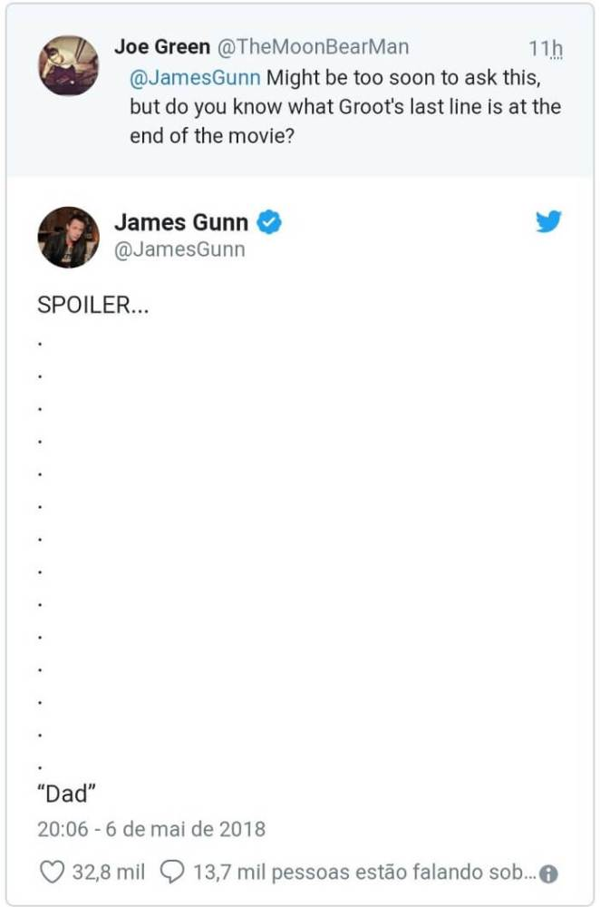 James Gunn traduz fala de Groot do final de Vingadores: Guerra Infinita 5