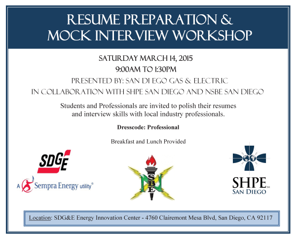 SDG And E Resume Prep And Mock Interview Workshop  San Diego Resume