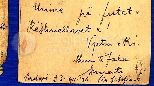 Dy kartolina postare te shkruara autograf nga Ernest Koliqi. -