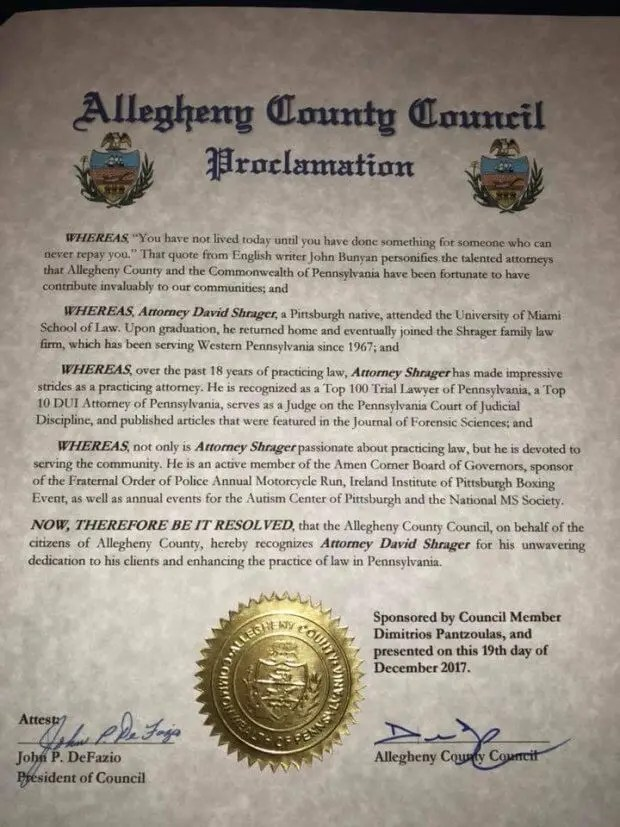 Allegheny County - Proclamation for Shrager Defense Criminal Attorneys Pittsburgh