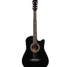 Price of acoustic guitar, 38 Inch Cutaway, PH38C/BK with Picks Only, Black (Without Bag, Strap, and Extra Strings), Free Delivery