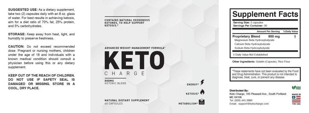 KetoCharge Ingredients label