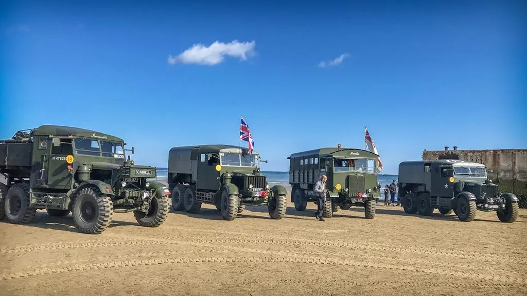 Military Vehicles on 'Gold' Beach.