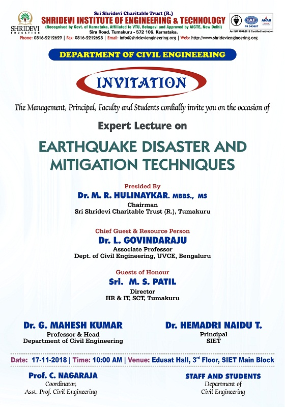 Expert Lecture on EARTHQUAKE DISASTERS & MITIGATION TECHNIQUES