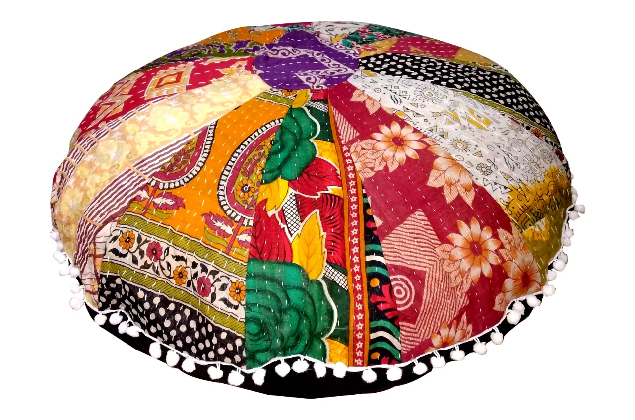 32 inches old vintage kantha patchwork round floor pillow cushion