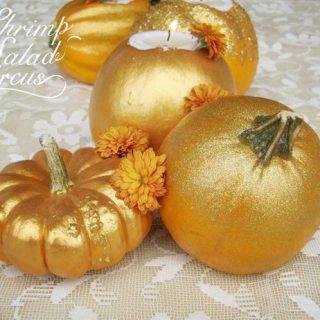 Gold Pumpkin Tea Light Candle Holders