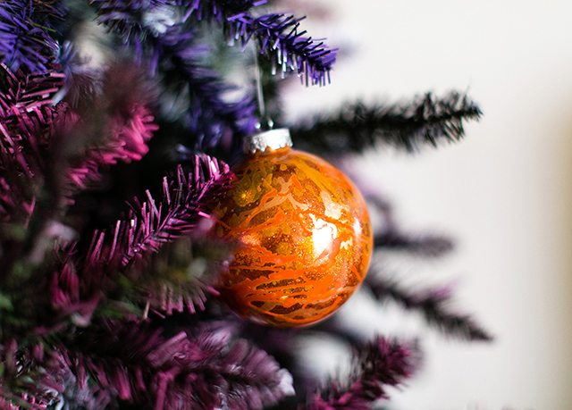 DIY Galaxy and Planet Christmas Ornaments - Orange Ornament