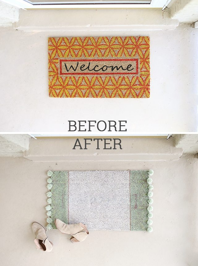 Pom Pom Rug Doormat - Before and After