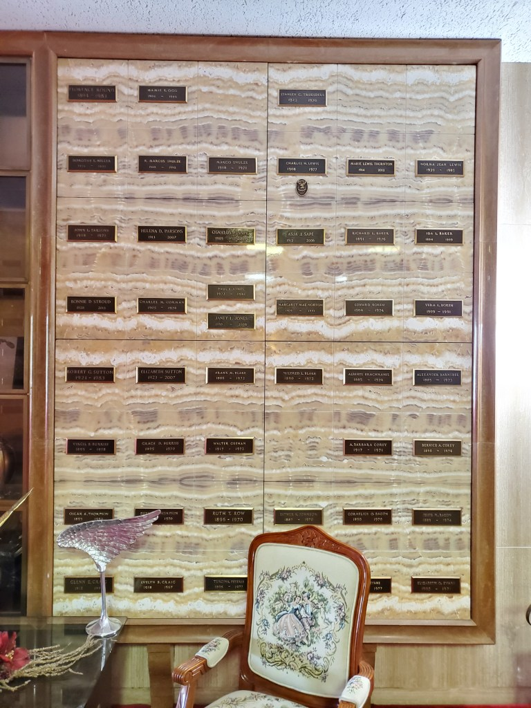 Columbarium of Remembrance in our main Chapel Mausoleum